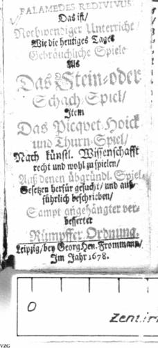 """Titelblatt des """"Palamedes Redivivus"""" von 1678"""
