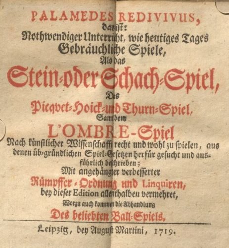 """Titelblatt des """"Palamedes Redivivus"""" von 1719"""