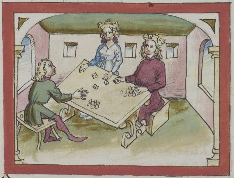 Miniatur aus Handschrift cpg364 (f. 118r) - Spielszene